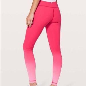 Pink Ombré lululemon wunder under leggings